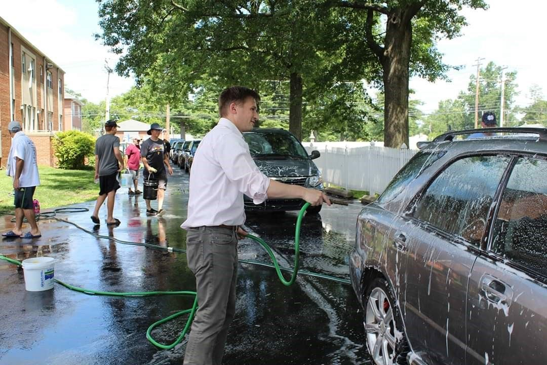 Cleaning Car at Fundraiser