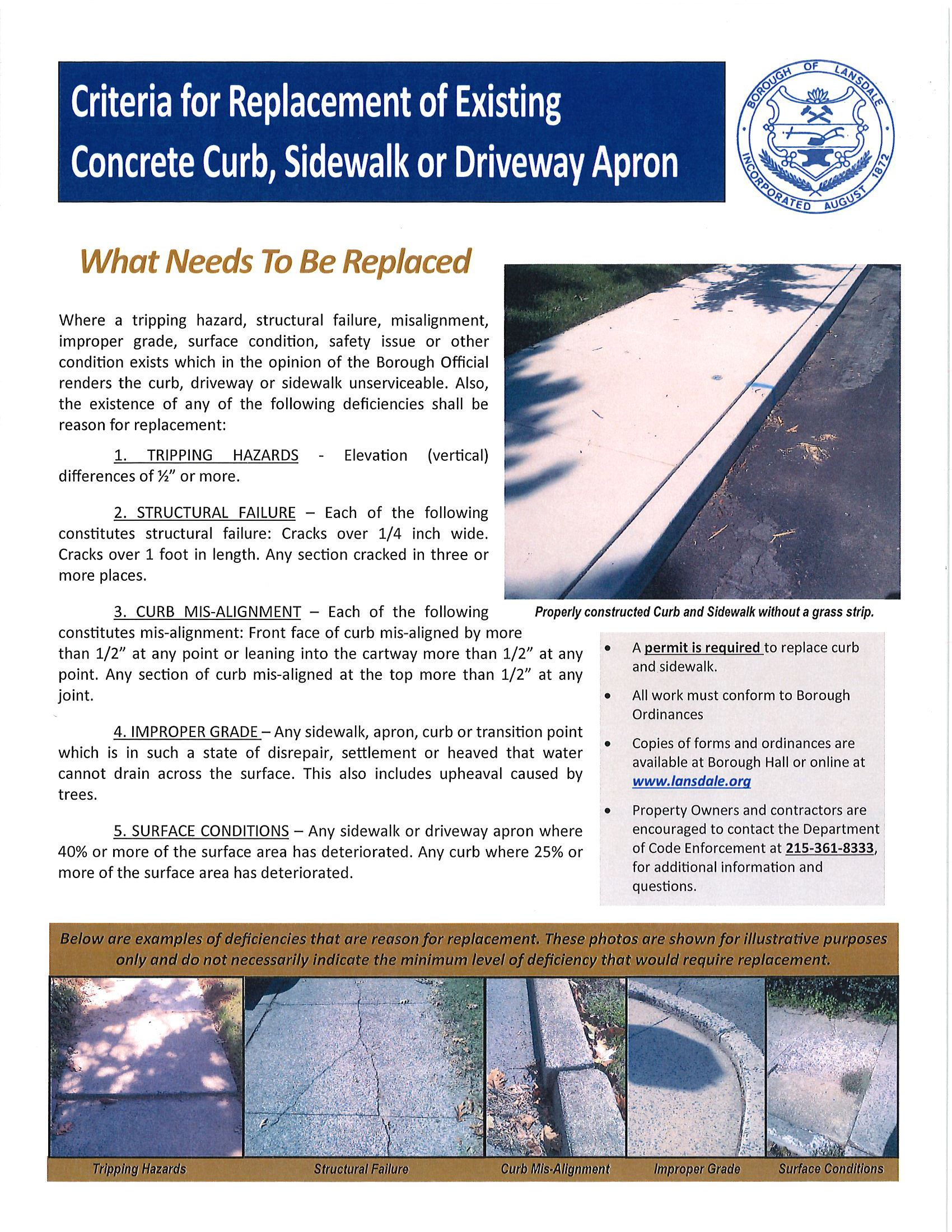 Curb and sidewalk replacement criteria - illustrated