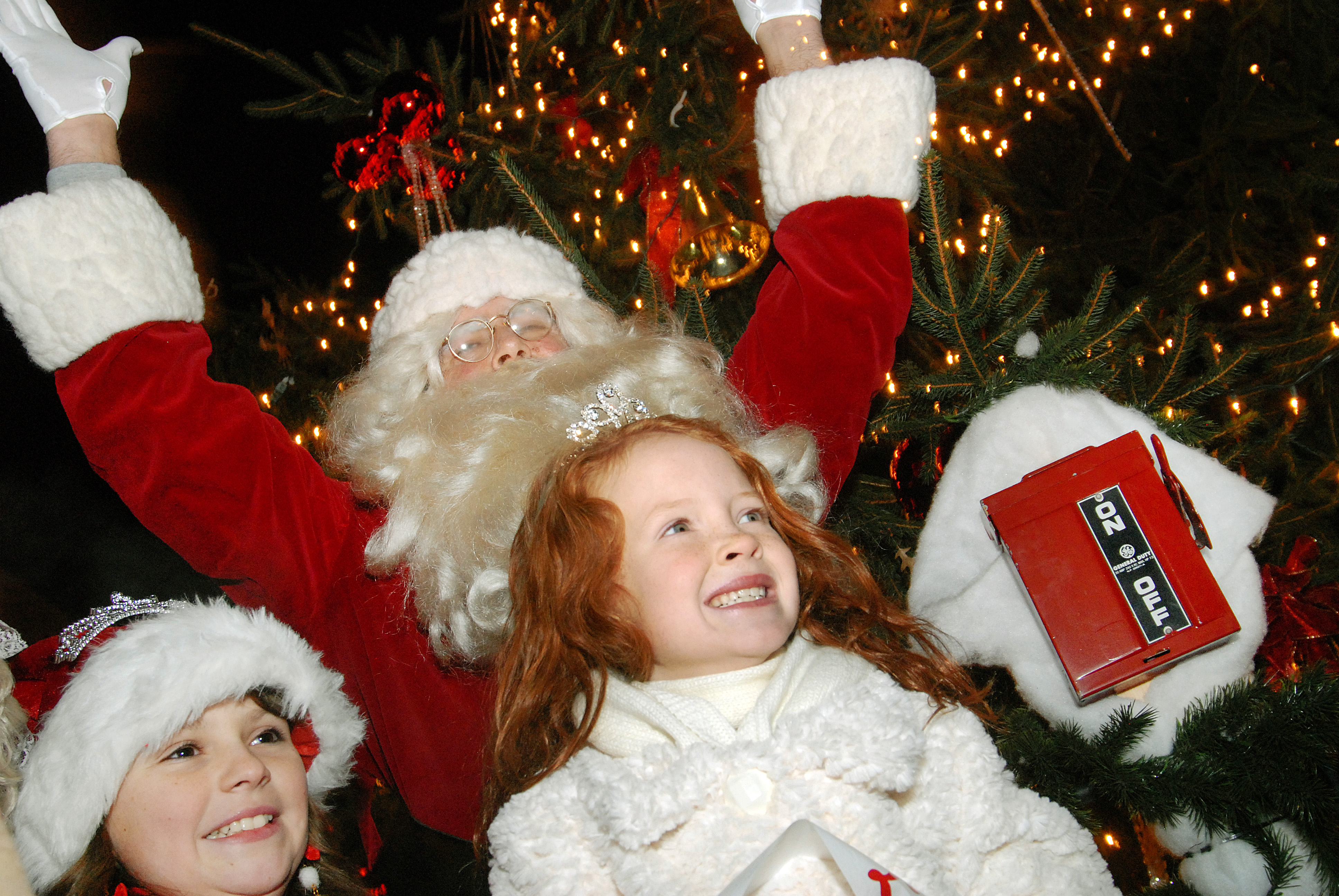 Kids and Santa Celebrating Tree Lighting